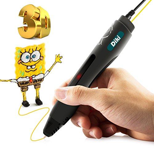 3D Stift, DIKI 3D Drucker Stift ,Intelligenter pen, 3D Pen Stereoscopic Printing Pen mit LCD-Bildschirm +2 Pla Filament Für Kunst, Handwerk, Dooling und Modellierung(schwarz) (Schwarz)