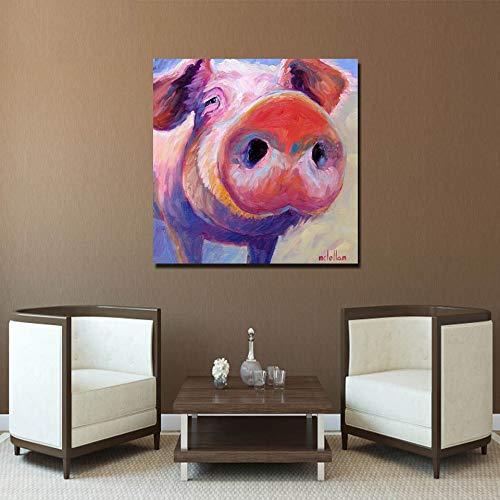yhyxll Stampa su Tela HD Wall Art Simpatici Quadri Rosa Dipinti murali di Maiale Red Peg Pig Poster e Stampe 60cmx60cm