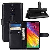 ECENCE Handyhülle Schutzhülle Case Cover kompatibel für LG G7 Fit Handytasche Schwarz 12020204