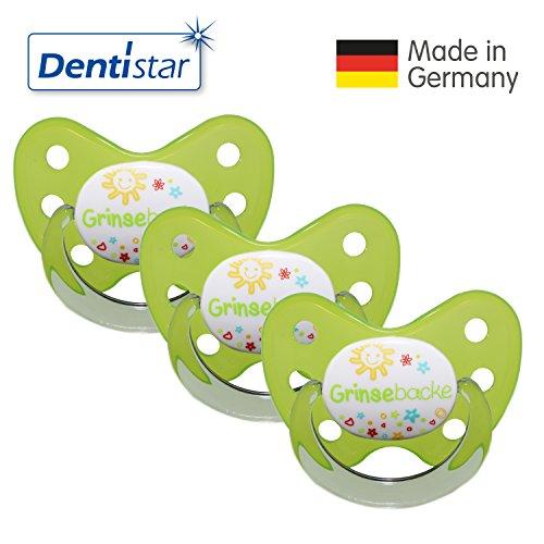 Dentistar® Schnuller 3er Set- Nuckel Silikon in Größe 3, ab 14 Monate - zahnfreundlich & kiefergerecht - Beruhigungssauger für Babys - Grün Grinsebacke
