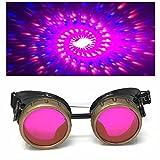 umbrellalaboratory Steampunk Lunettes victoriennes Glow UV Rave spirale rose lunettes de diffraction doté pour le festival de danse et de musique punk cosplay cyber