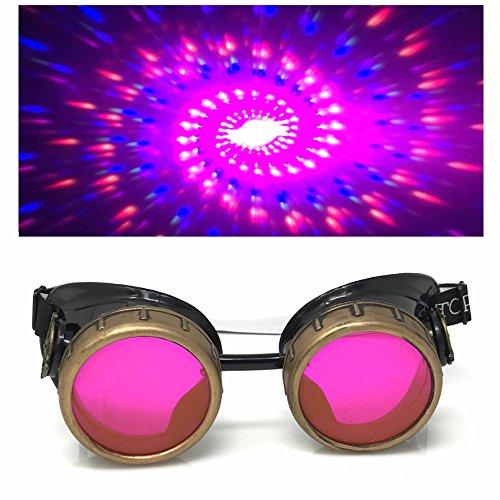 Steampunk Brille mit UV-Licht glow in der Dunkelheit Neon pink Spirale Beugung Gläser Rave Kostümzubehör Musikfestival Punk Cyber Gothic ()