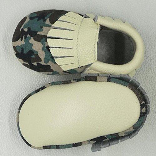 Hunpta Neue jungen Lauflernschuhe Baby Kleinkind Spleiß Mokassin Camouflage Quaste Schuhe Leder weiche Schuhe (15, Camouflage) Camouflage
