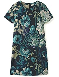 SOMEWHERE Robe coton twill coupe trapèze imprimé exclusif tapisserie, - MARINE / CANARD - 4100668