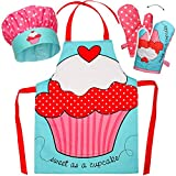 Unbekannt 3 TLG. Set: Kinderschürze + Kochmütze + Topfhandschuh -  Muffin / Törtchen - Punkte Cupcake - Herz  - Größenverstellbar - 100 % Baumwolle - fleckabweisend b..