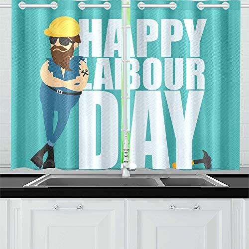 YXUAOQ Arbeiter Mann gelb BAU Helm Inschrift Küche Vorhänge Fenster Vorhang Stufen für Café, Bad, Wäscheservice, Wohnzimmer Schlafzimmer 26 x 39 Zoll 2 Stück