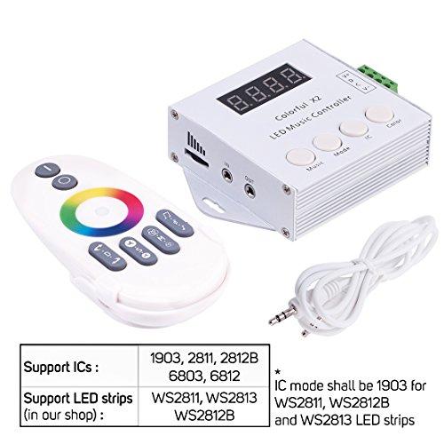 BTF-LIGHTING Music Kontroller Addressable mit Fernbedienung Funktion X2 Music Controller für WS2811 WS2812B SK6812RGB 6803 WS2813 LED Streifen DC5V-24V