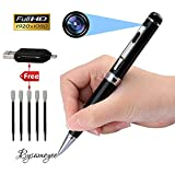 Spy Camera Pen - Bysameyee Meeting Grabador de video Camera Pen, HD 1080P Mini portátil DVR Cam Wireless PenCam Vigilancia Security Camcorder con 5 recargas de tinta, lector de tarjetas OTG