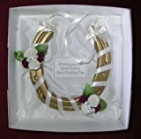 Bridal wedding lucky real steel horseshoe in IVORY & BURGUNDY