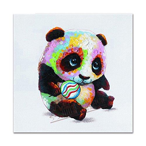 Handgemalte Pop-Art-Platz, Niedliche Panda Klassische Moderne Leinwand Ölgemälde Dekoration Eine Platte,3,40*40Cm