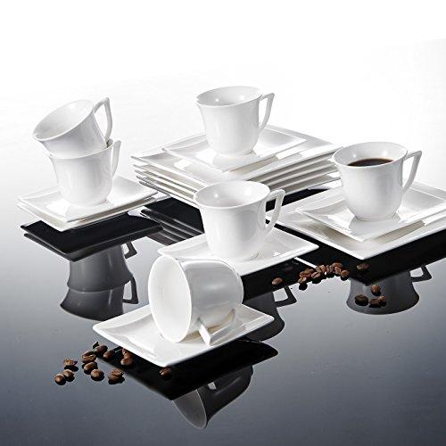 Malacasa, Serie Carina, 18 Teiligen Set Cremeweiß Porzellan Kaffeeservice Geschirrset Tafelservice...