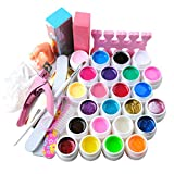 Fashion Gallery Kit 24pc UV Gel Diversi Colori Attrezzi Unghie Finte Taglia Tips