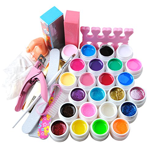 Fashion Gallery Kit 24pc UV Gel Diversi Colori Attrezzi Unghie Finte Taglia Tips gel colorato regali natale