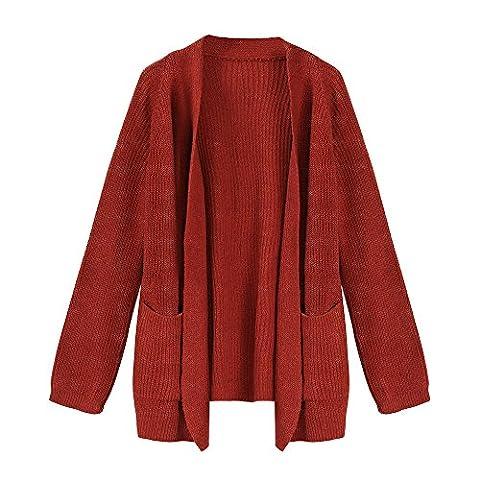 BBring Damen Mode Outwear Cardigan Short Sweater Coat Winter Wolljacke Warmer Strickjacke s Mantel (Orange)