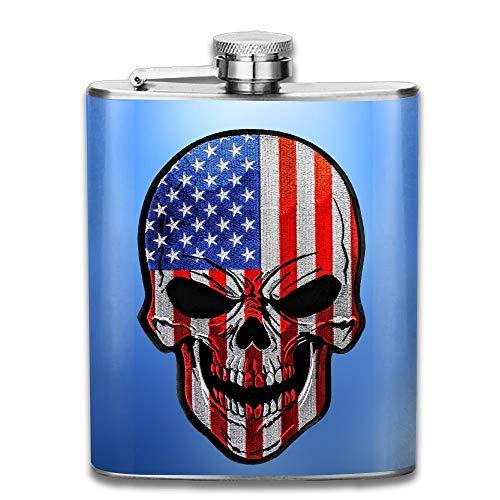 Kaixin J Flaggen-Schädel-amerikanische Edelstahl-Alkohol-Flagon-Retro Taschen-Flasche Edelstahl-Reise-Flasche Großes kleines Geschenk, sicher und ungiftig -