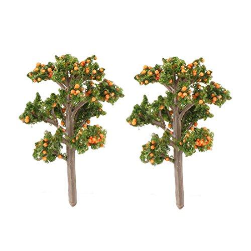 sourcingmap® 2stk Familie Dekor Harz Handwerk Künstliche Pflanz Baum Bonsai Landschaft Orange