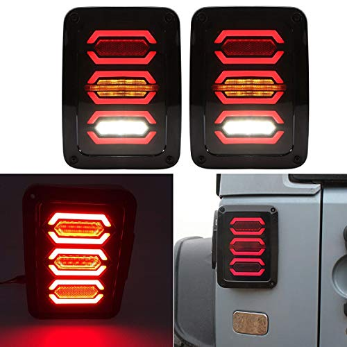 Toppower Rückleuchte Rücklicht CREE Led Chips EU Europäische Version 15W -Volle Funktion Bremslicht /Blinker/Tagfahrlicht/Reflektor 1 paar (Rückleuchten Wrangler Jeep)