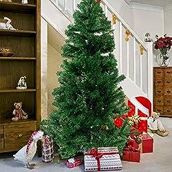 Künstlicher Weihnachtsbaum hochwertiger Tannenbaum Christbaum, mit Metallständer, Material PVC, Innen und Außenbereich (Grün, 150cm)