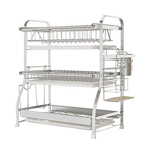 LAXF-égouttoir à vaisselle 3 niveaux 304 en acier inoxydable égouttoir cuisine égouttoirs de vaisselle compacts couverts de cuisine multifonctions étagères de cuisine (taille : 54cm)