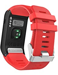 MoKo vívoactive HR Sport Armband - Silikon Ersatz-Uhrenarmband Uhrenarmband Einstellbar Armband Replacement Wechselarmband watch band für Garmin vívoactive HR Sport GPS-Smartwatch, Rot