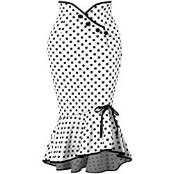 Rosegal - Falda - Envolvente - Lunares - para Mujer Blanco Blanco Large