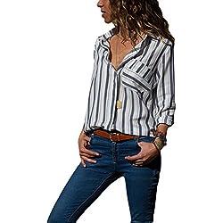 Aleumdr Mujer Blusa de Oficina Camisa Túnica a Rayas Blusa Básico para Otoño Blanco Size M