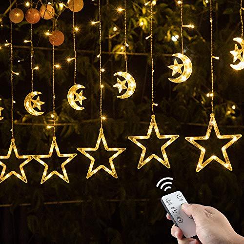 Ulinek 2m 138 LEDs 12 Mond Sterne Lichtervorhang, Haken Timer Dimmbar Fernbedienung, 8 Modi Lichterkette Warmweiß mit Stecker Innen Außen, Deko Beleuchtung für Weihnachten Party Fenster Wand Balkon