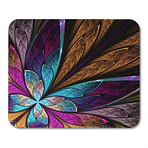 Mouse Pads Colorful Mosaic Beautiful Fractal Flower Butterfly in Stained Glass Window Style You It So on Ornate Mouse Pad for Notebooks,Desktop Computers Office Supplies - Butterfly Stained Glass