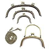 RUBY - 4 Boquillas para bolsos y 1 Cadena de hierro para correa de bolso Cierre de boquilla para bolso Cierre monederos boquilla de bolso para Patchwork (Bronce, Lote)