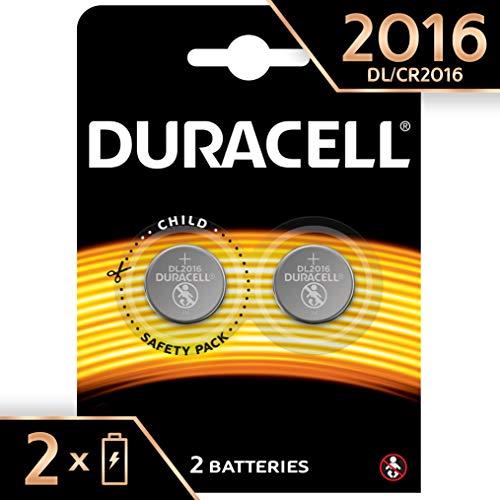 Pile Bouton Lithium Duracell Spéciale 2016 3 V, Pack de 2 (DL2016/CR2016), Conçue pour une Utilisation dans les Porte-Clés, Balances et Dispositifs Portables et Médicaux
