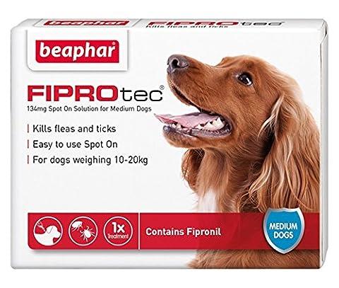 Beaphar® FIPROtec® Kill Flea Ticks Spot On Drop Treatment Protection for Small Medium Large XL Dogs Puppies (1 Treatment, Dog (Medium 10-20kg))