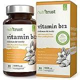 Comprimés vitamine B12 1000μg par Nutritrust - Formule efficace 400% plus riche en vitamine B12 - Ingrédients d'origine naturelle pour une meilleure bio-disponibilité & commodité - Certification BPF