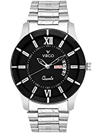 Virgo Professional Black Dial Stainless Steel Day And Date Display Analogue Men's Watch - VG-5008-PD-BK