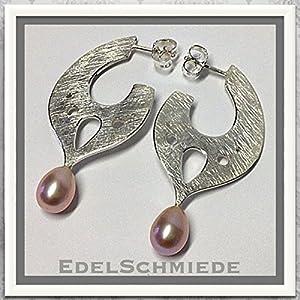 handgefertigte Ohrringe 925 Silber mit Perltropfen - Unikat
