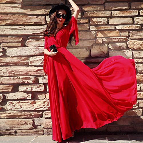 UOYJN Woman Dress Female Summer Big Red Beach Tall Ankle Long Super Chiffon Skirt Dress Long Skirt