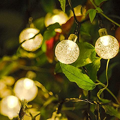 Crystal Ball String Lights Solar Powered Luxury 30 LED Warm White Globe Fairy Lights for Garden Terrace Balcony Patio Christmas Birthday New Year Party Wedding Festival Xmas Tree Decoration