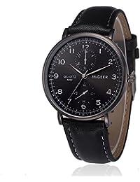 Relojes deportivos para hombres, KanLin1986 Relojes de pulsera de cuarzo retro para hombre, reloj deportivo de cuarzo analógico de banda de cuero (Negro)