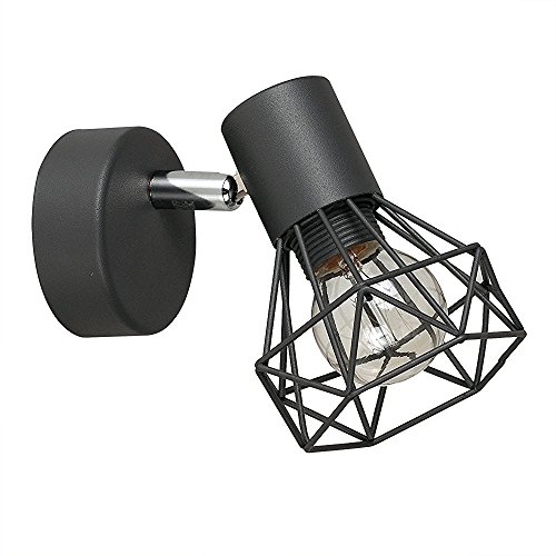 """MiniSun 1 spot Plafonnier ou Applique. """"Pannier"""" - Design Rétro Au Tête Réglable & Orientable. En Combinaison de Gris Foncé Mat et Chrome Poli"""