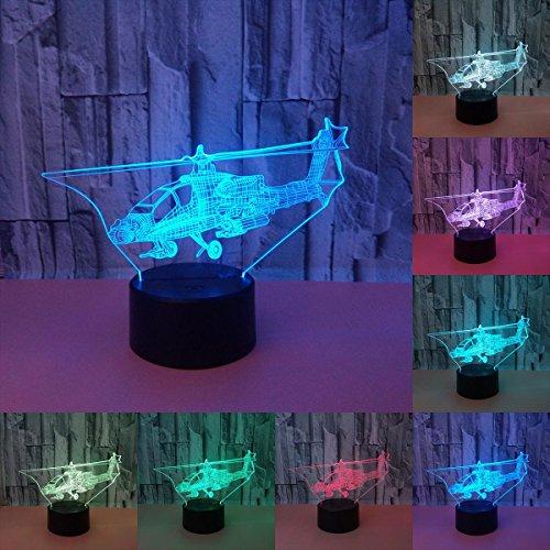 LOERO 3D visuelle kreative LED-Lampe 3W für Kinder Nachtlichter Hubschrauber Flugzeug 7 Farben Touch Switch Control Art Lichter für Nachtlicht Baby Kinder Erwachsene für Baby Schlafzimmer Kindergarten Geburtstagsgeschenk (Hubschrauber-party-dekor)