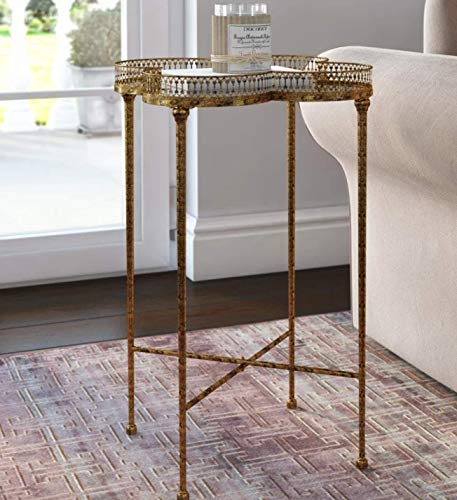 Vintage Tray Table French Style Furniture Metal Side Antique Gold Console Mirrored Living Room Sofa End Small Venetian Glass Top Coffee Plant Lamp Telephone Stand Shabby Chic Industrial Retro Art Deco