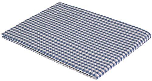 """Vaitkute 210019 Halbleinen Tischdecke """"Karo"""" 140 x 140 cm, mit Briefecken, 50% Leinen und Baumwolle, 40 Celsius waschbar, 210 g / m2, weiß / blau kariert"""