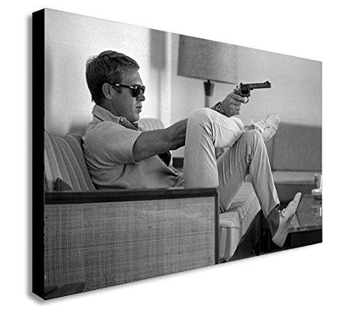 Kunstdruck von Steve McQueen mit Pistole auf Leinwand, Wandschmuck-in verschiedenen Größen...