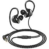 AUKEY Kopfhörer In Ear Kabel Ohrhörer Dual Treiber Stereo Headset HiFi Sound Speziell für Musik Hören mit Einstellbarem Ohrbügel und 3.5mm Stecker für MP3 player, Smartphone,Tablet und andere Audio Geräte (EP-C3)