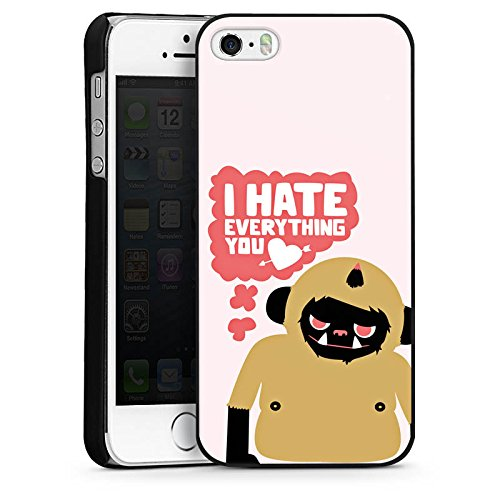 Apple iPhone 5s Housse Étui Protection Coque Monstre Phrases Amour CasDur noir