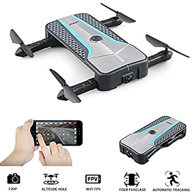 ONBET Pocket Selfie Drone WIFI FPV Drone With 720P HD Camera Auto-Follow Optical Positioning RC Quadcopter Altitude Hold 3D Flips Rolls Foldable Drone from ONBET