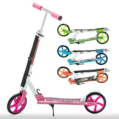 UEnjoy Scooter Roller Kickscooter Kinderroller Tretroller Cityroller Klappbar Tretroller Kinderscooter Scooter Mädchen Rosa Farbwahl