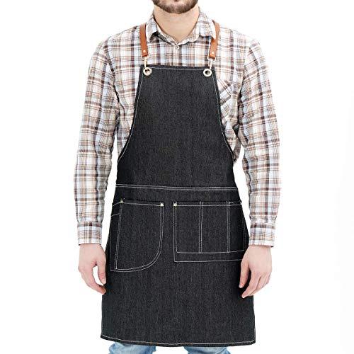 Neoviva Arbeitsschürze für Männer mit Taschen, Arbeitsschürze für Frauen Übergröße, dunkle Denim-Blaue Schürze mit verstellbarem Gürtel für Arbeiten Backen Garten Restaurant BBQ