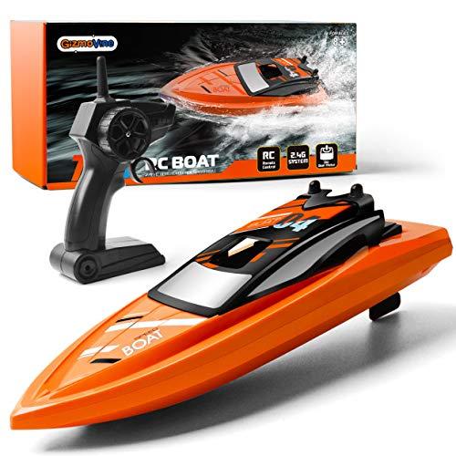 GizmoVine Ferngesteuertes Boot RC Boot 2,4GHz mit 2 Motoren Schnelle Geschwindigkeit Jungen und Mädchen (Orange)