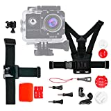 DURAGADGET Kit Accessori per Action Camera Monster Cam | FUDISI Tech | IXROAD | F68 | Apeman A65 - Alta qualità