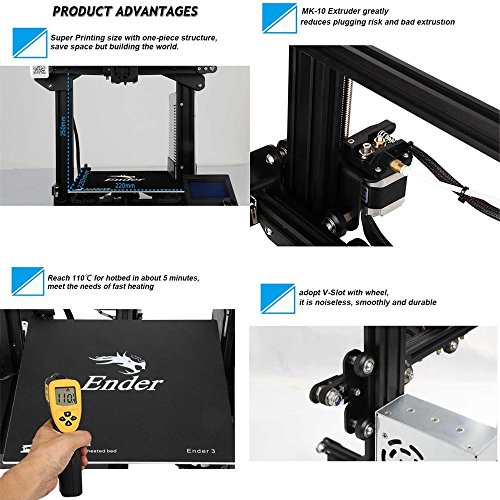 Comgrow Creality 3D Printer Ender-3X with Tempered Glass Plate 220 * 220 * 250 - 7